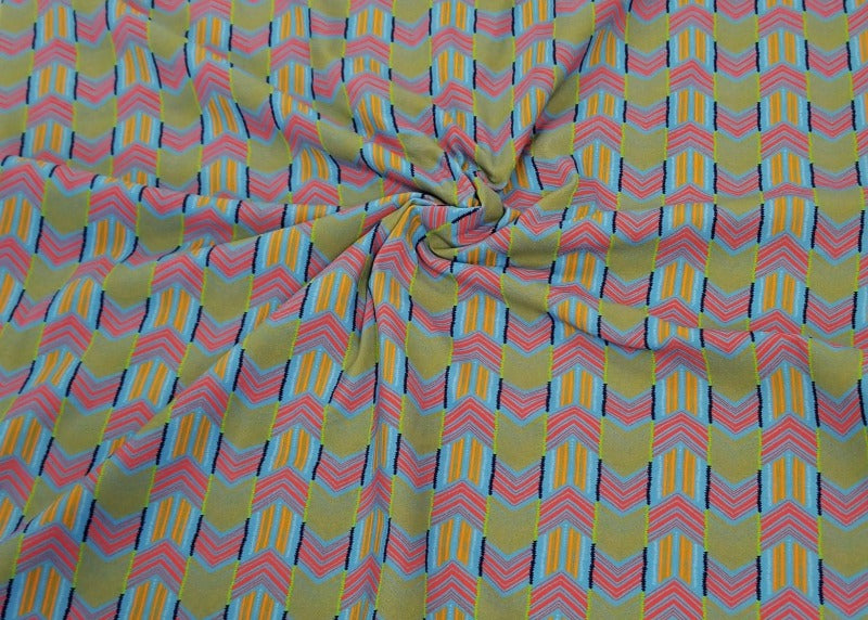 End of Bolt: 3 yards of Designer Deadstock Nylon Spandex Thurston Geo Knit- Remnant
