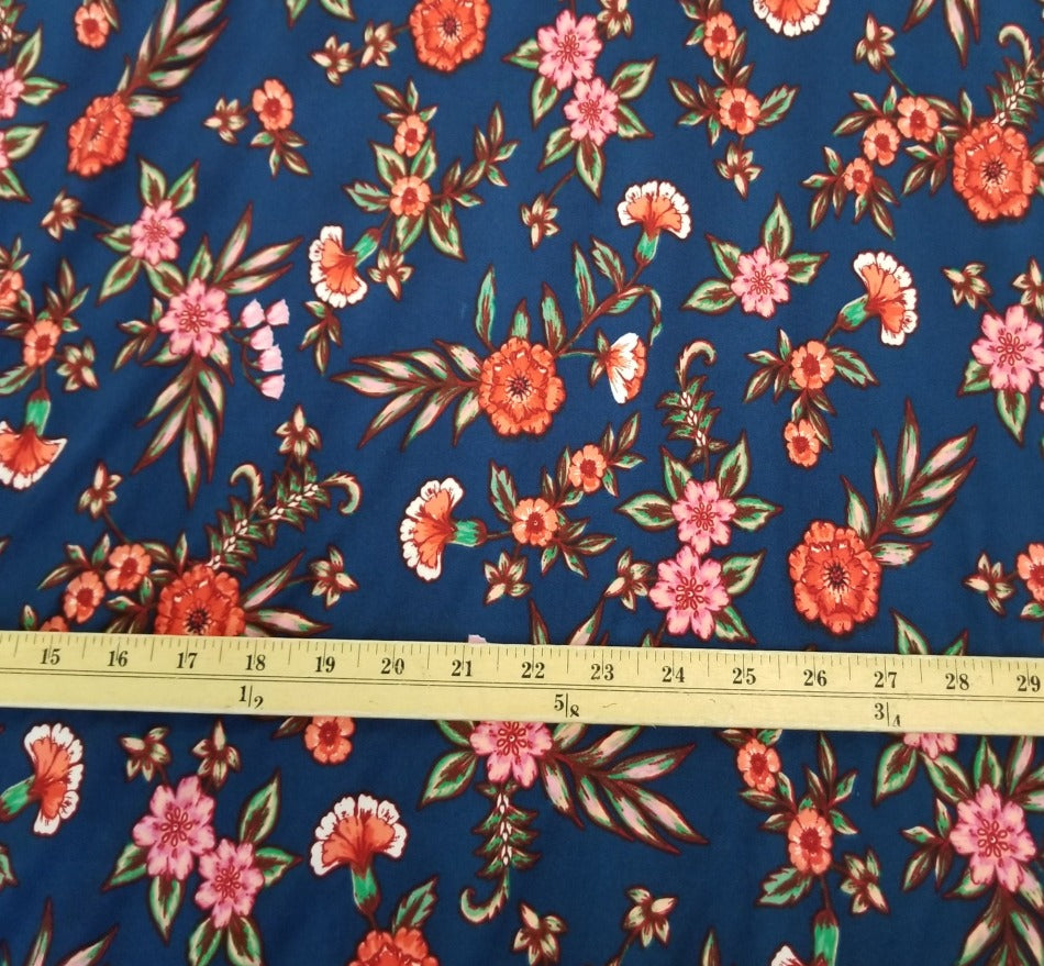Single Brushed Fall Floral Poly Spandex Knit- By the yard