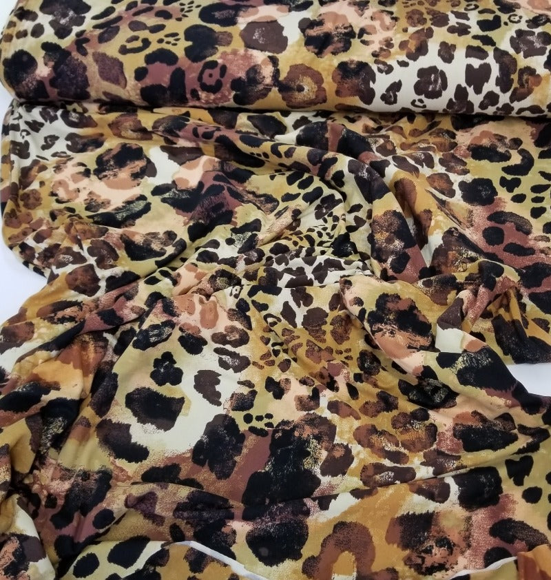End of Bolt: 2.5 yards of Double Brushed Poly Spandex Brown Animal Print Knit-Remnant