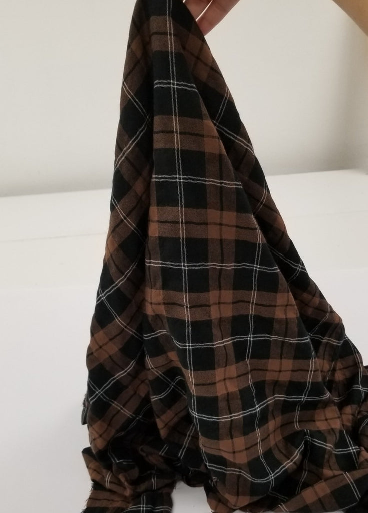 Designer Deadstock Gavin Brown and Black Plaid Shirting Woven- By the yard