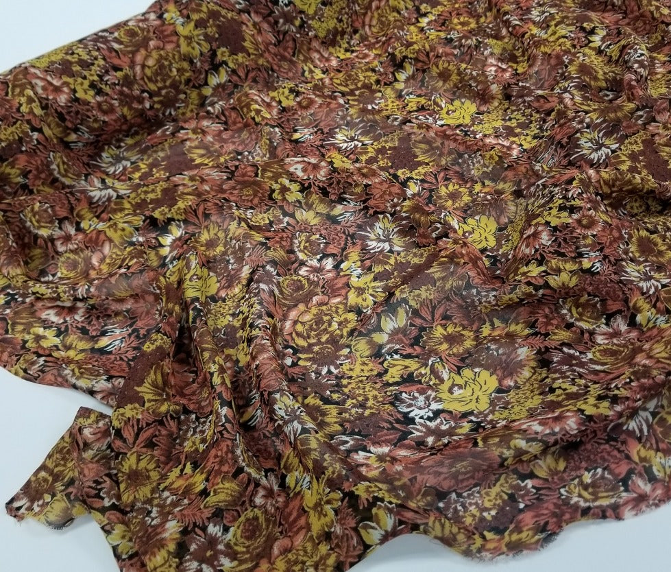 Designer Deadstock Phoebe Rayon Georgette Floral Woven- By the yard