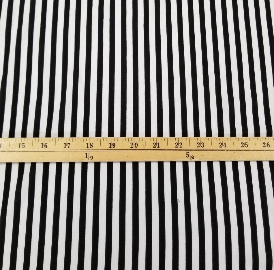 End of Bolt: 2.5 yards of Fashion Black & White Vertical Stripe Rayon Challis Woven- remnant