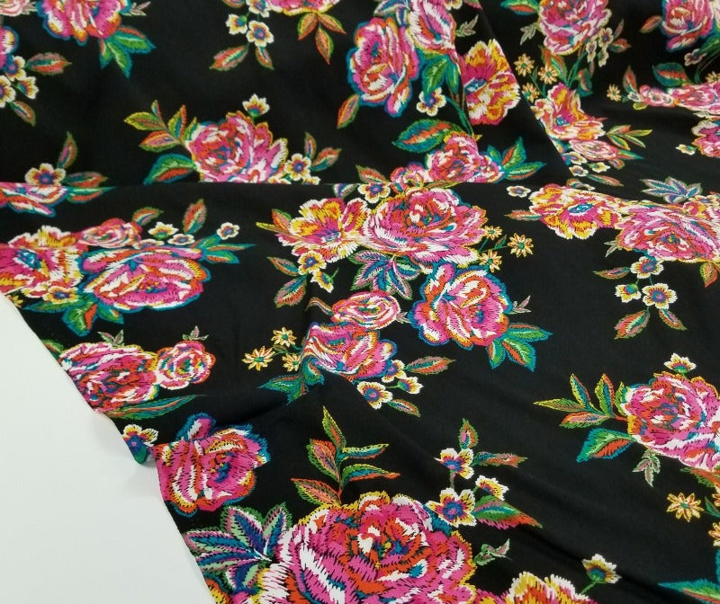 Fashion Black Naomi Stitched Look Floral Rayon Challis Woven- By the yard