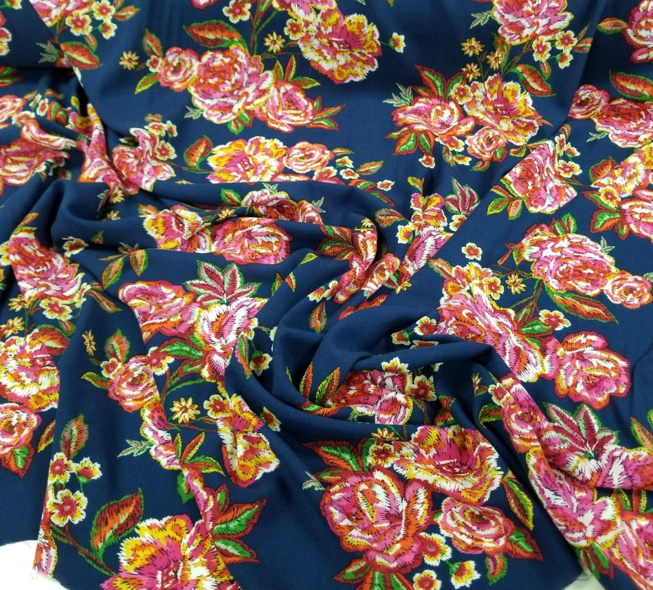 Fashion Navy Naomi Stitched Look Floral Rayon Challis Woven- By the yard
