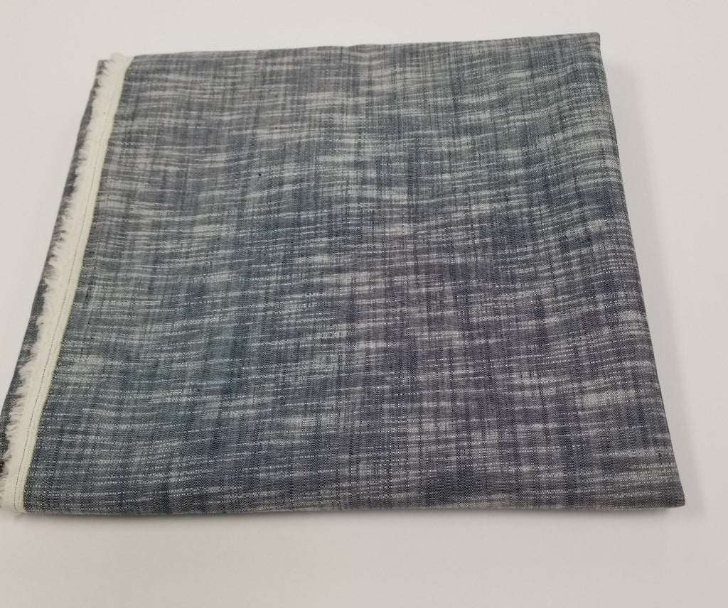 Designer Deadstock Crosshatch Yarn Dyed Chambray Woven- By the yard