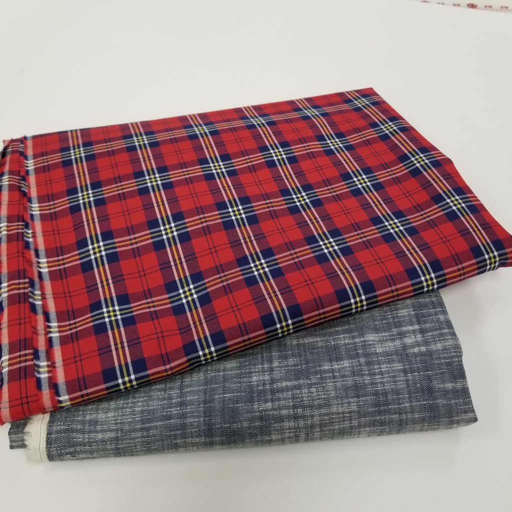 Designer Deadstock Graham Plaid Red Cotton Shirting Woven- By the yard