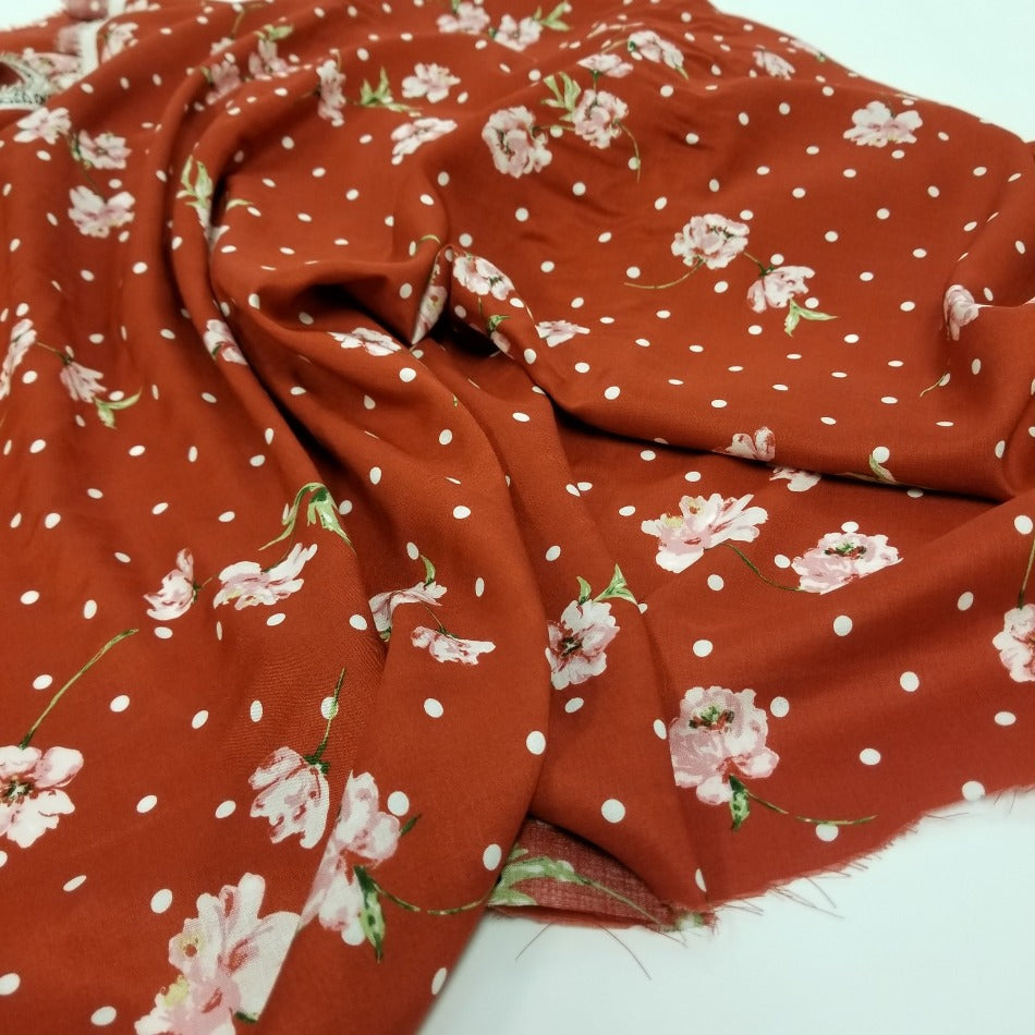 Designer Deadstock Floral & Dots Rust Rayon Challis Woven- By the yard