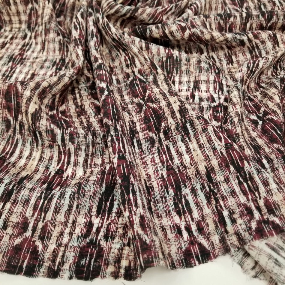 End of Bolt: 4 yards of Designer Deadstock Abstract bohemian Rayon Woven-Remnant