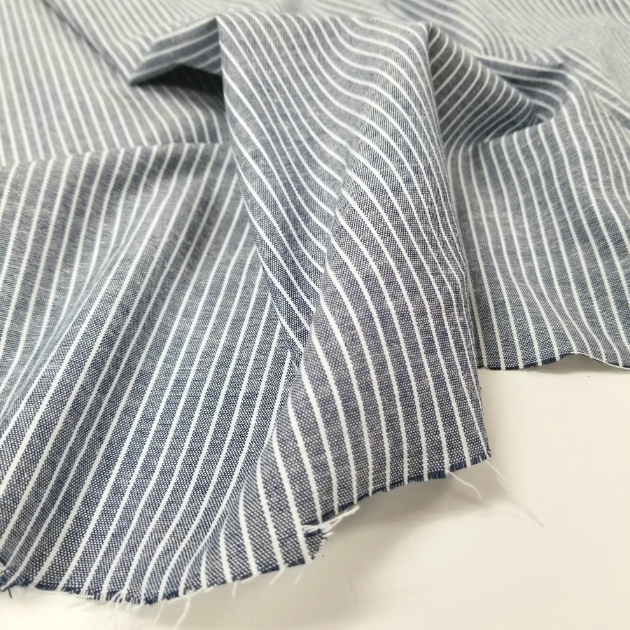 Designer Deadstock Stripe Chambray Yarn-Dyed Shirting Woven- By the yard
