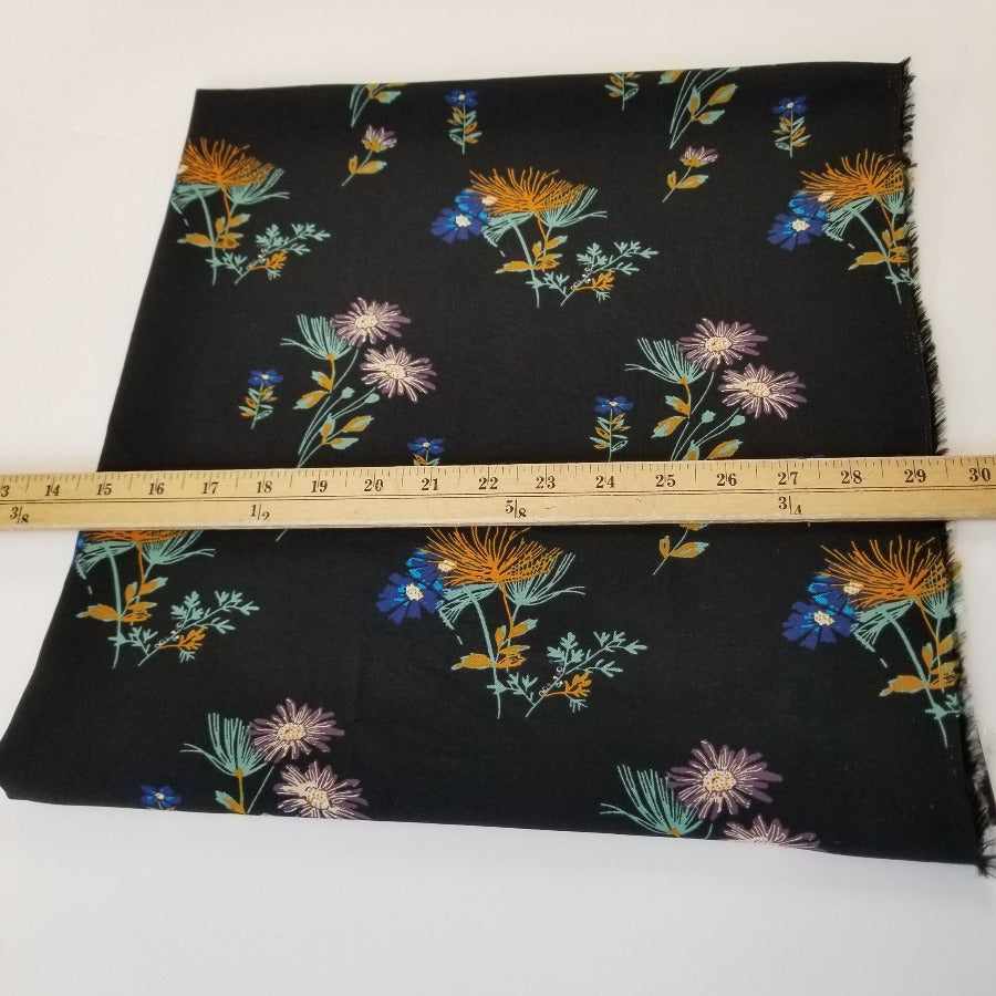 Designer Deadstock; Black Floral Knolls Rayon Challis Woven-by the yard