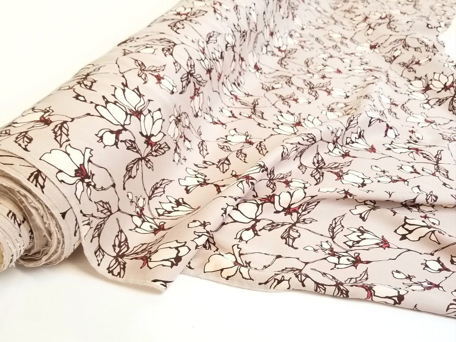 Designer Deadstock Cupro Floral Beige Gray Delilah Woven- By the yard
