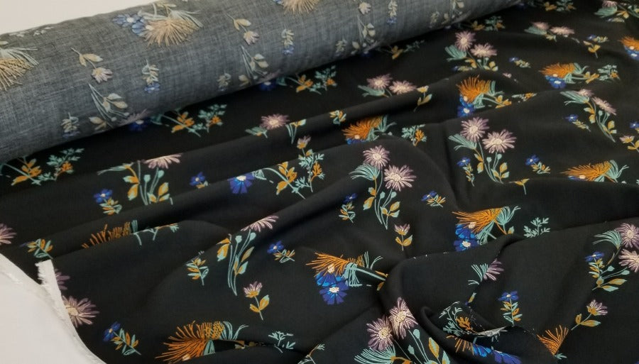 Designer Deadstock Black Floral Knolls Rayon Challis Woven-Sold by the yard