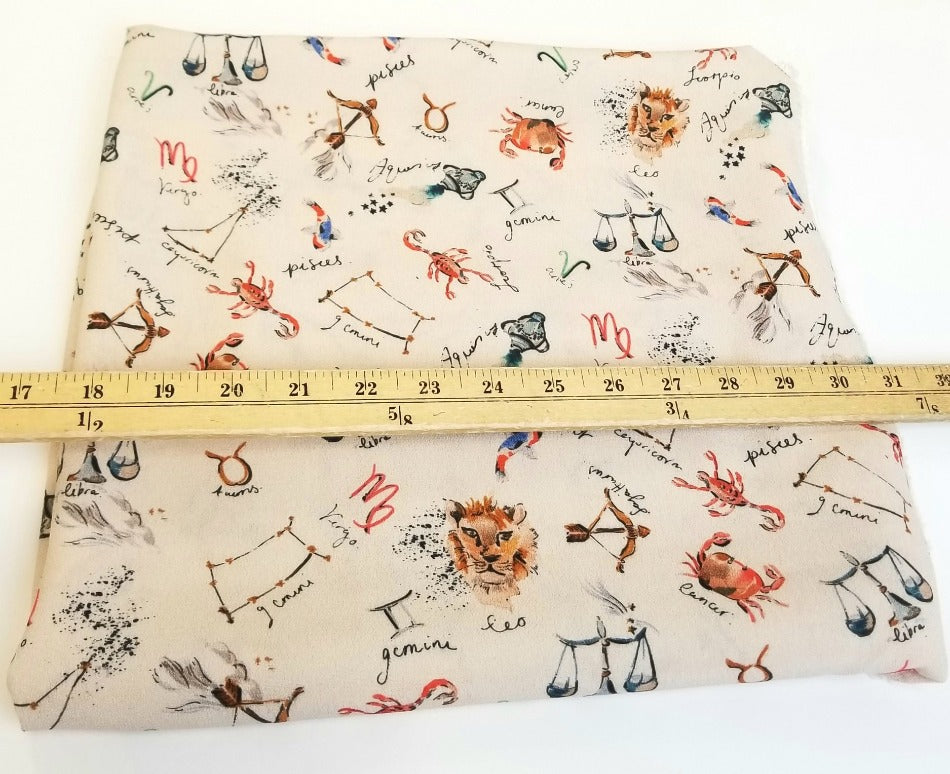 End of Bolt: 3 yards of Designer Deadstock : What's your Zodiac Sign Rayon Crepe Woven-Remnant