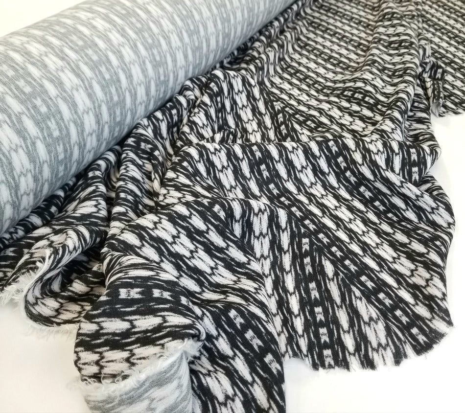 End of BOlt: 5 yards of Designer Deadstock Ziggy Abstract Rayon Gauze Woven-Remnant