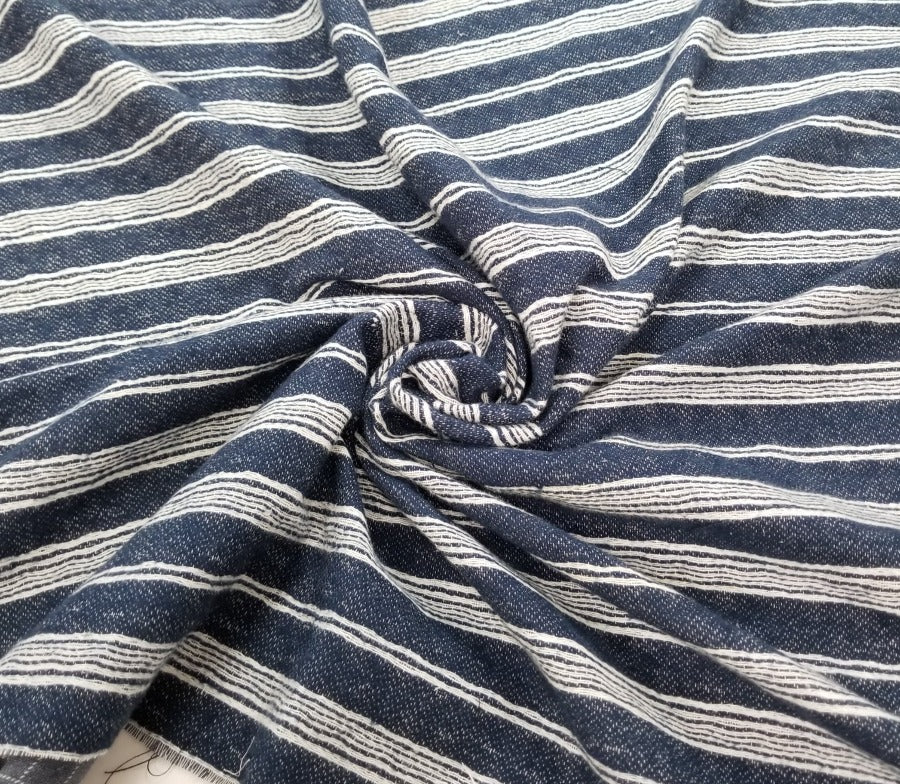 End of Bolt: 5/8th yards of Designer Deadstock:  Stripe Quilted Cotton Woven- remnant