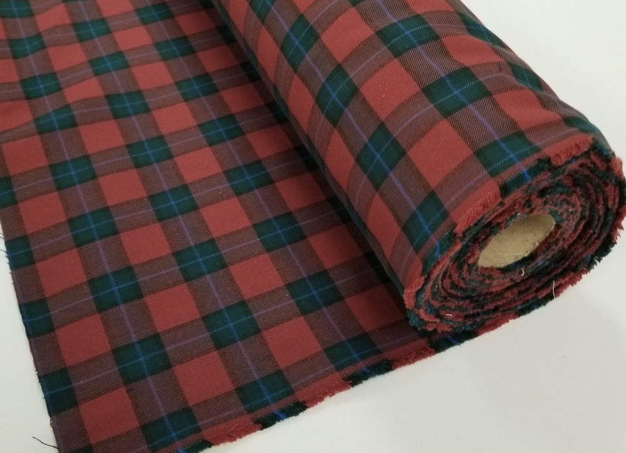 Fashion Plaid Green & Berry Cotton Non-Stretch Twill Made in Japan 10 oz- By the yard