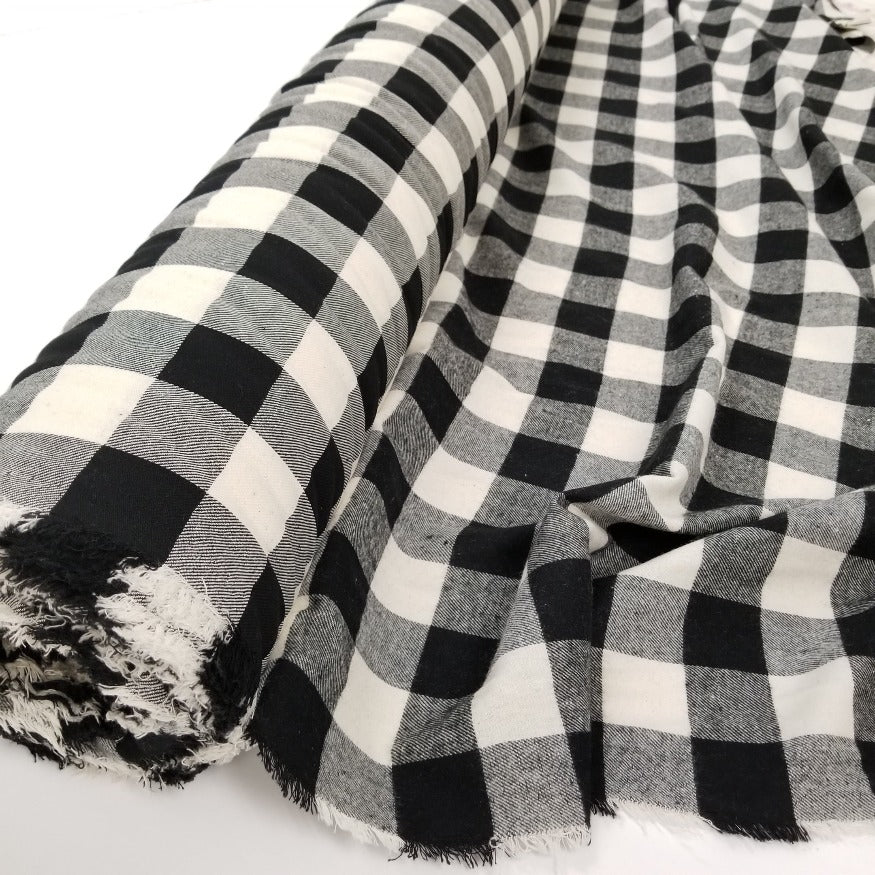 Designer Deadstock Black & Ivory Buffalo Plaid Flannel Woven- By the yard