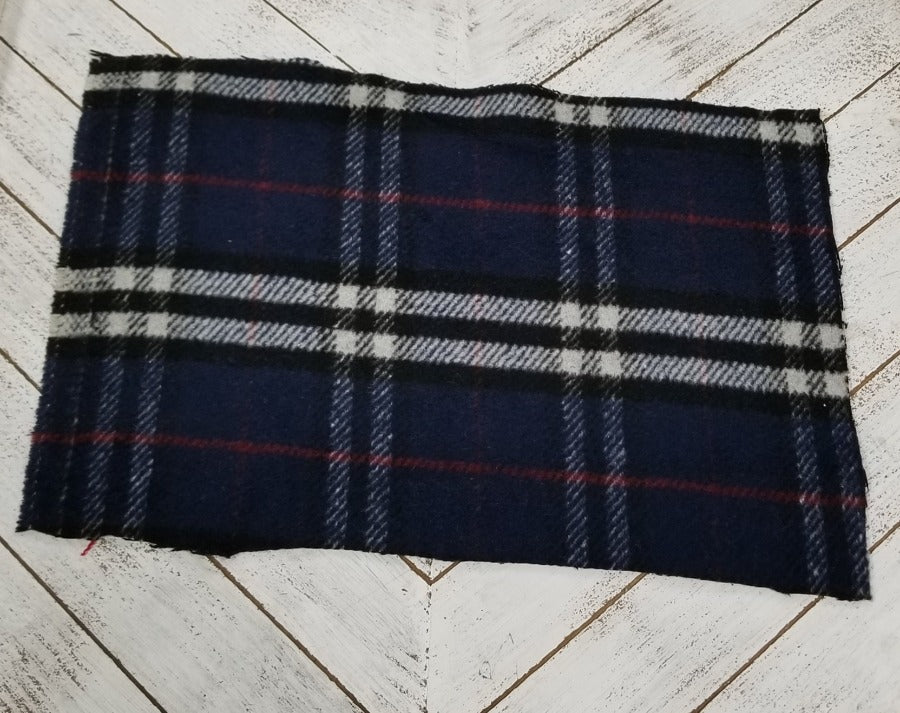 Famous Maker Premium Asha Plaid Navy Wool Blend Coating Woven-Sold by the yard