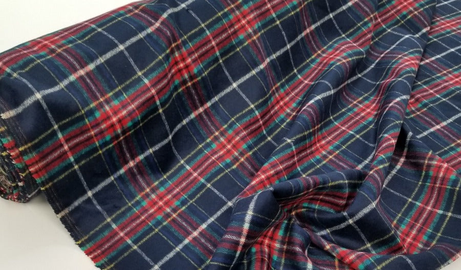 Famous Maker Premium Edholm Plaid Red, Green, & Blue Wool Blend Coating Woven-Sold by the yard