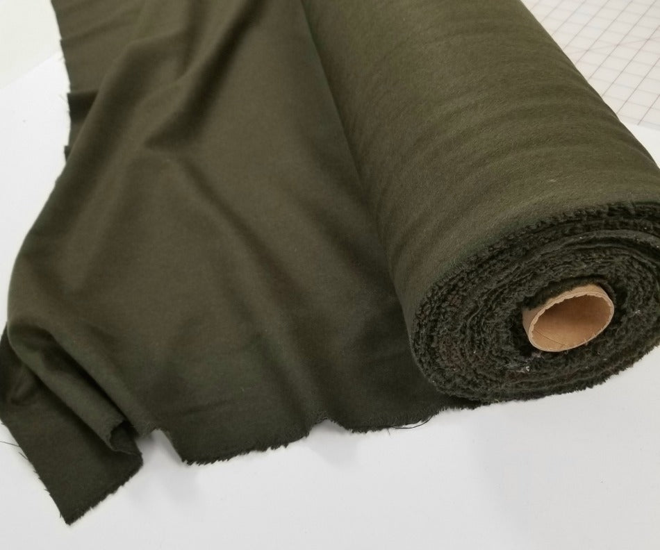 Famous Maker Premium Meadows Olive Wool Blend Coating Woven-Sold by the yard