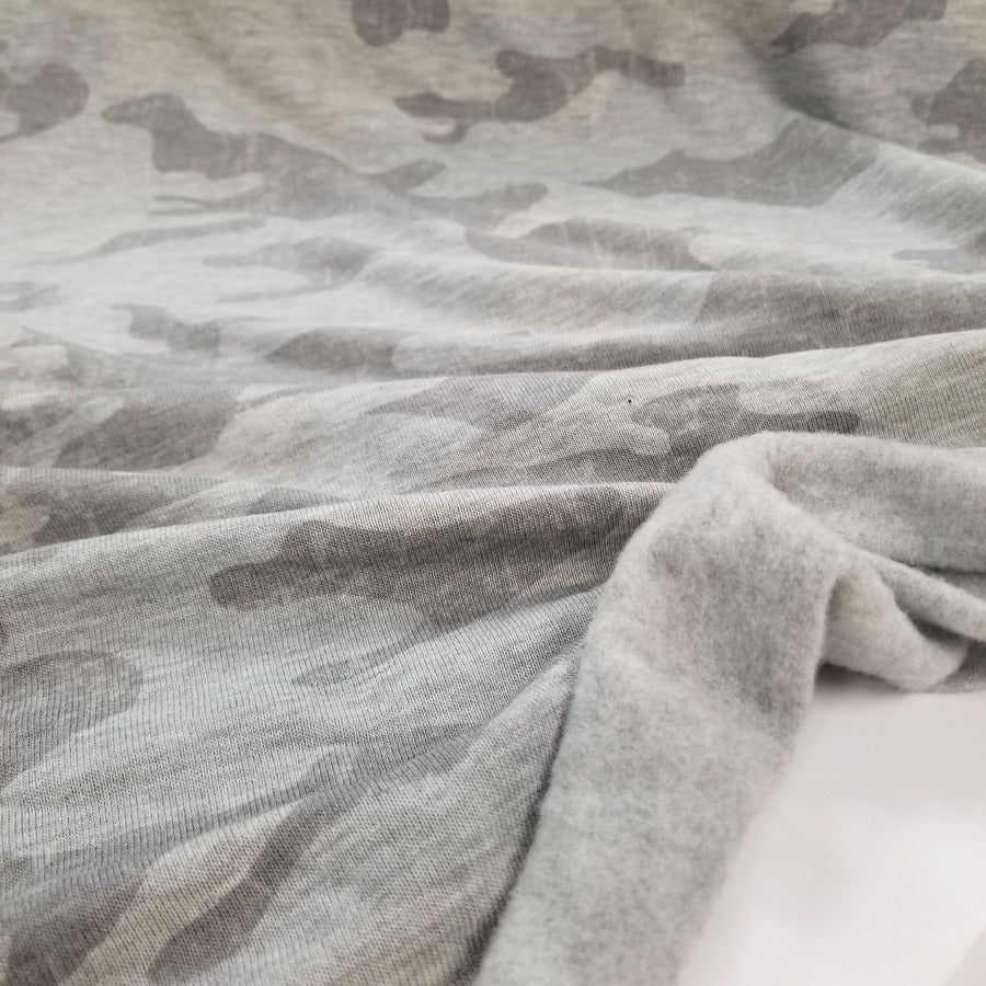 End of Bolt: 1/2 yard of Designer Deadstock Camo Sweatshirt Fleece- Remnant