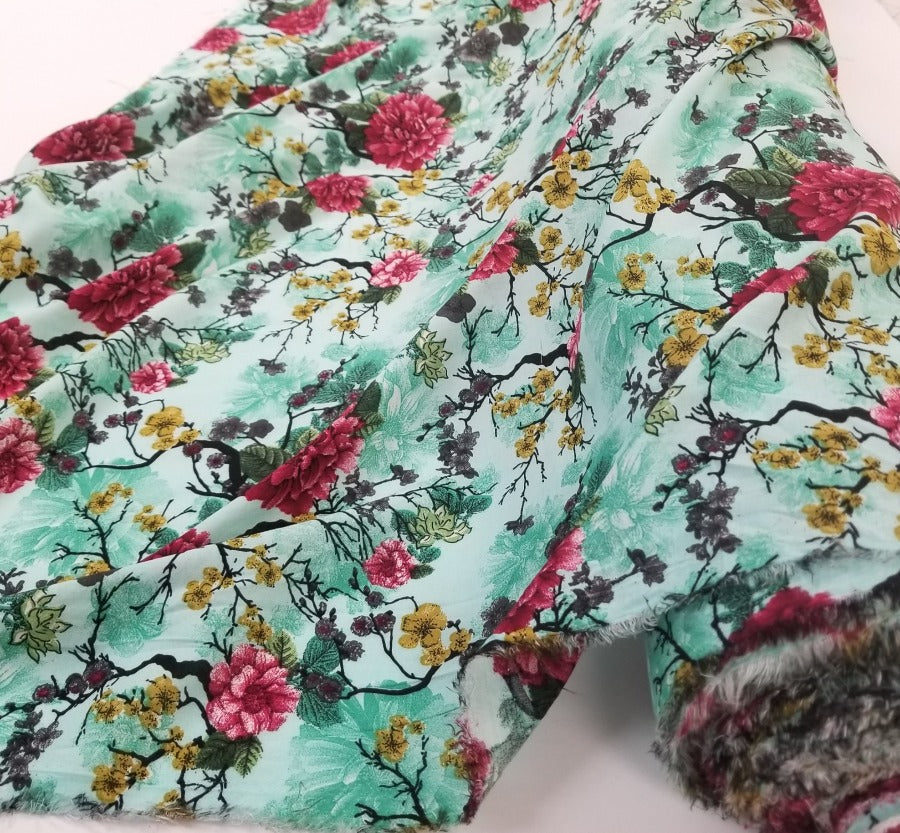 Fashion Floral Mint Rayon Challis Woven- By the yard