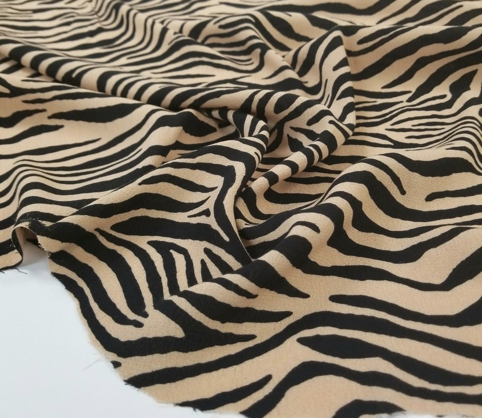 Designer Deadstock Perla Rayon Animal Crepe Woven- Sold by the yard