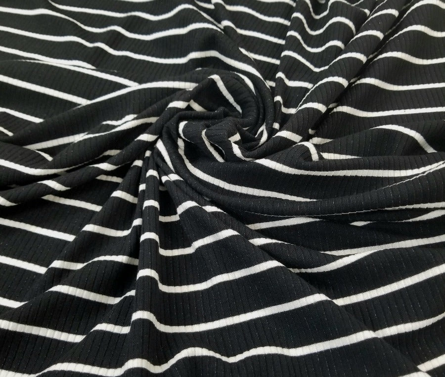 Designer Upland Black & White Stripe Rib Knit- Sold by the yard