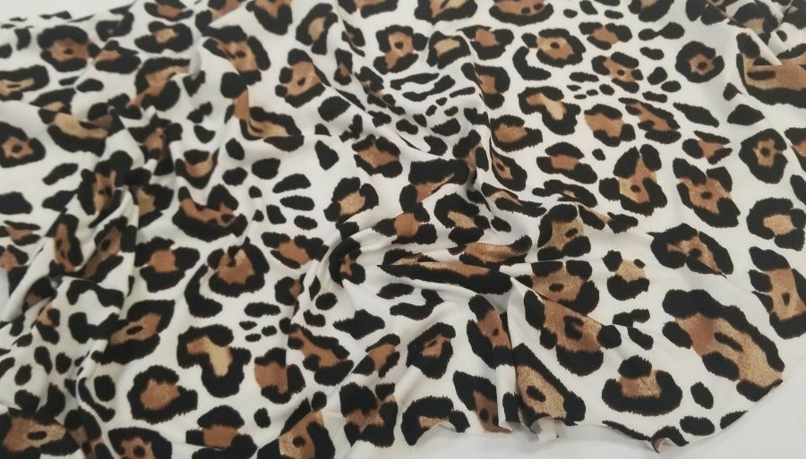 Double Brushed Ivory & Brown Animal Print Poly Spandex Knit- Sold by the yard