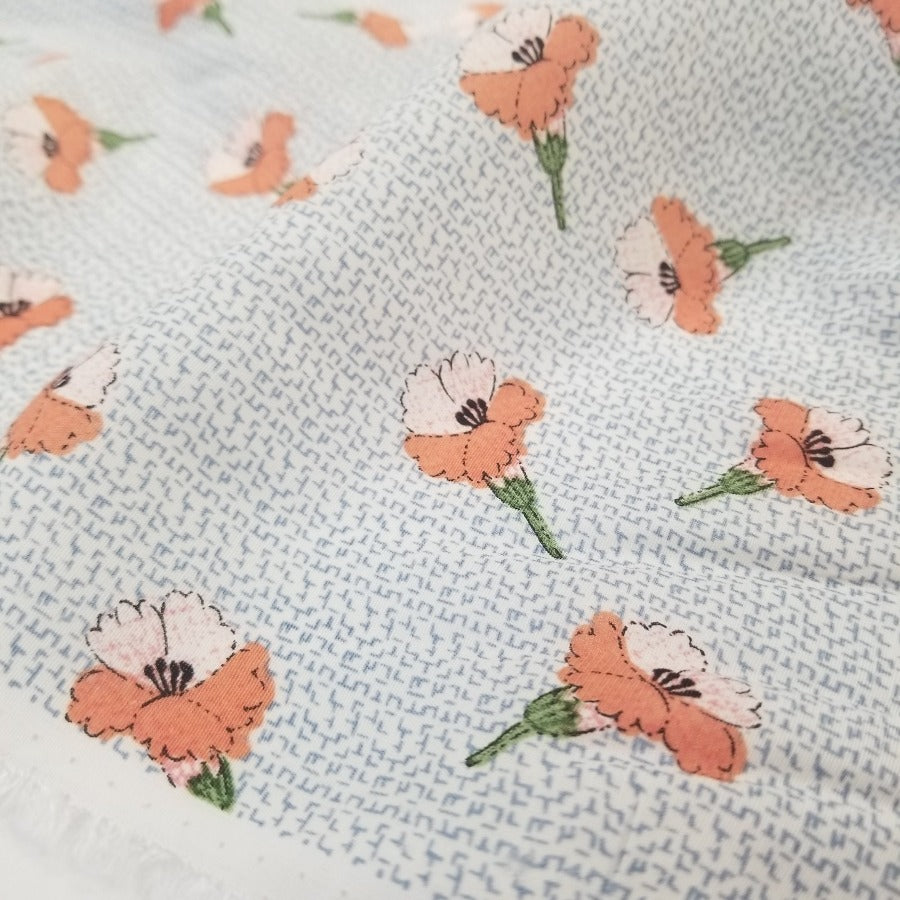 Sigmund Ivory and Peach Floral Rayon Woven- Sold by the yard
