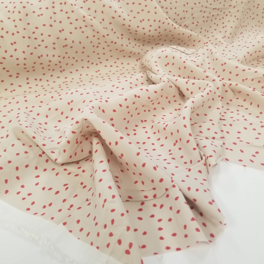 Juliette Beige Speckled Rayon Woven- Sold by the yard