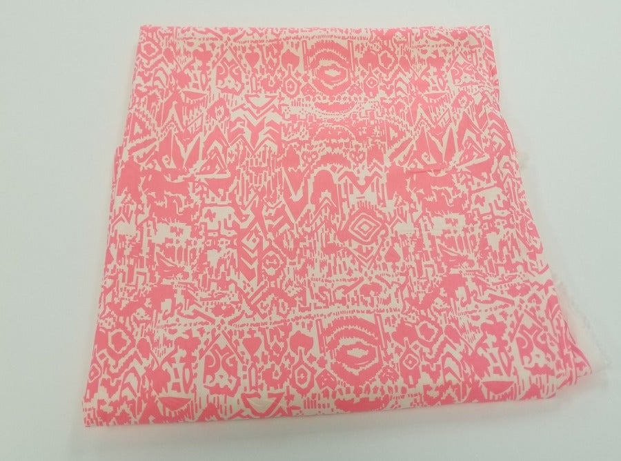 End of Bolt: 1-1/4th yards of Hot Pink Boho Rayon Challis Woven-remnant