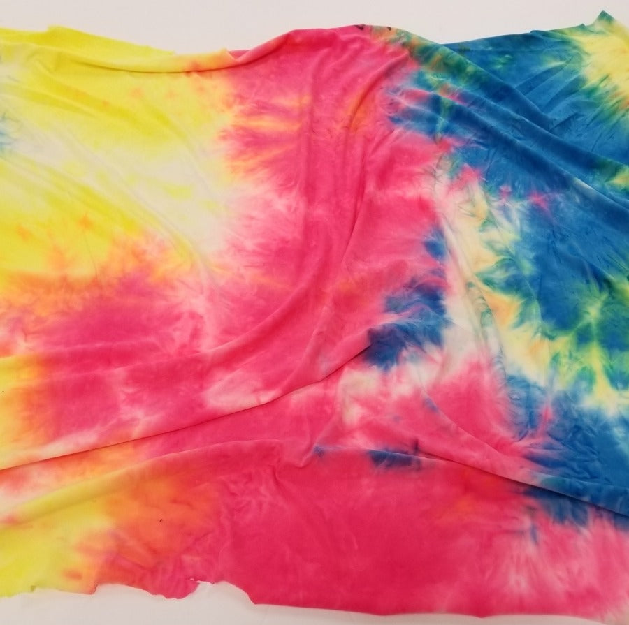 Double Brushed Coachella Tie Dye Pink & Blue Poly Spandex Knit- Sold by the yard