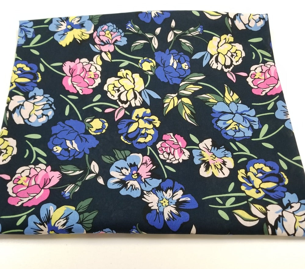 Fashion Cotton Linen Charleston Navy Floral Woven- Sold by the yard