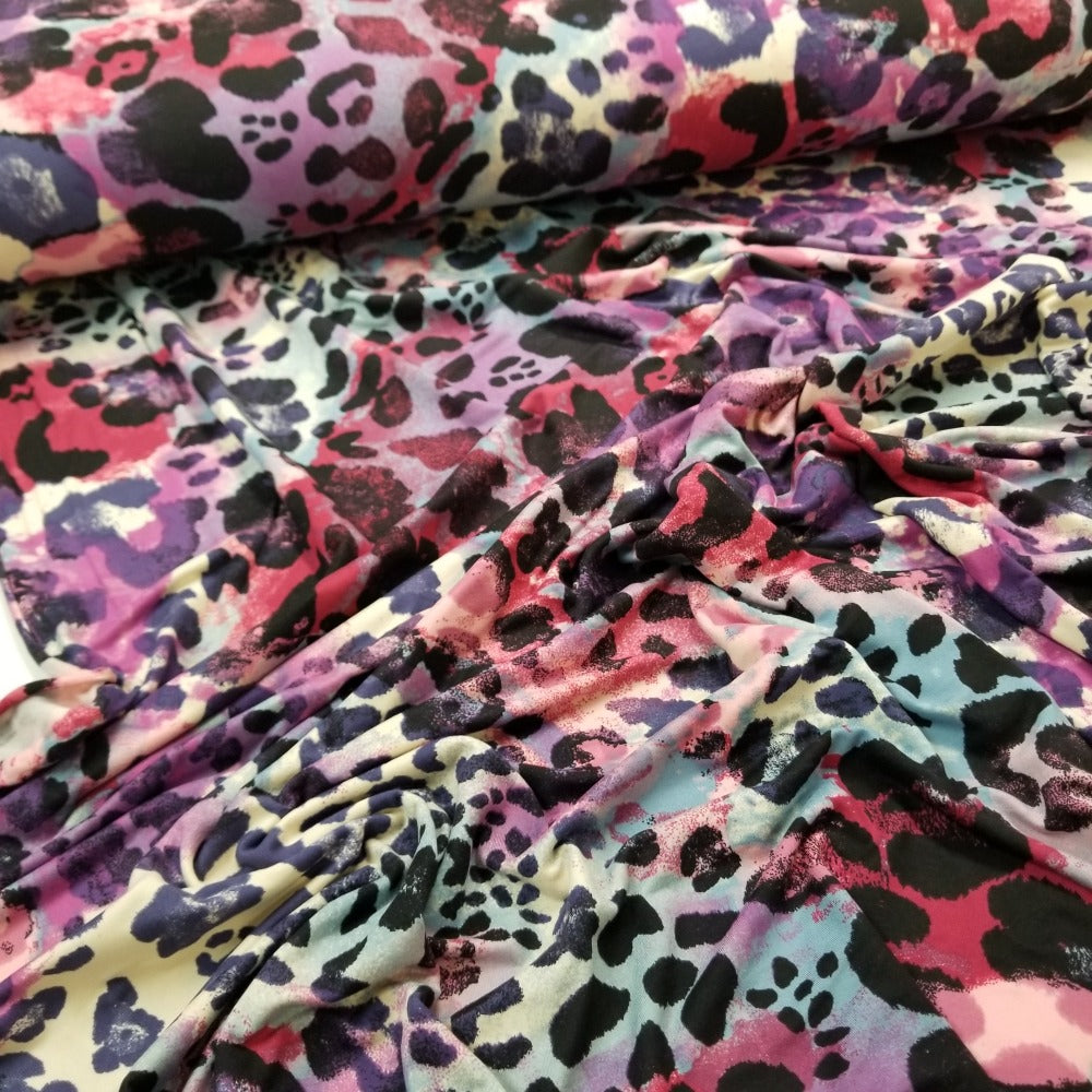 Double Brushed Poly Spandex Lilac & Purple Animal Print Knit- Sold by the yard