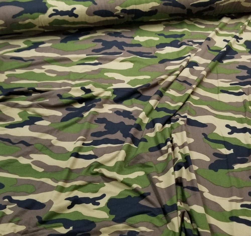 Double Brushed Camouflage Green Poly Spandex Knit- Sold by the yard