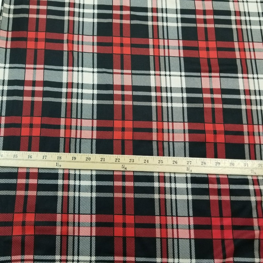 Double Brushed Plaid Harrington Poly Spandex Knit- Sold by the yard