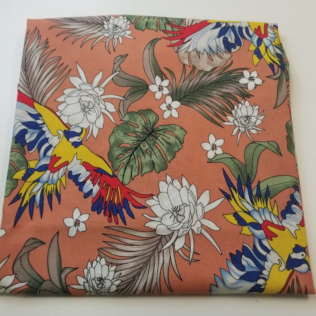Fashion Cotton Linen Tropical Parrots of  Ecuador Woven- Sold by the yard