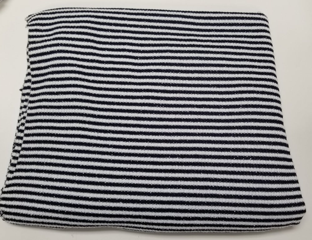 End of Bolt: 3.5 yards of Designer Open Weave Micro Small Stripe Navy and White-Remnant