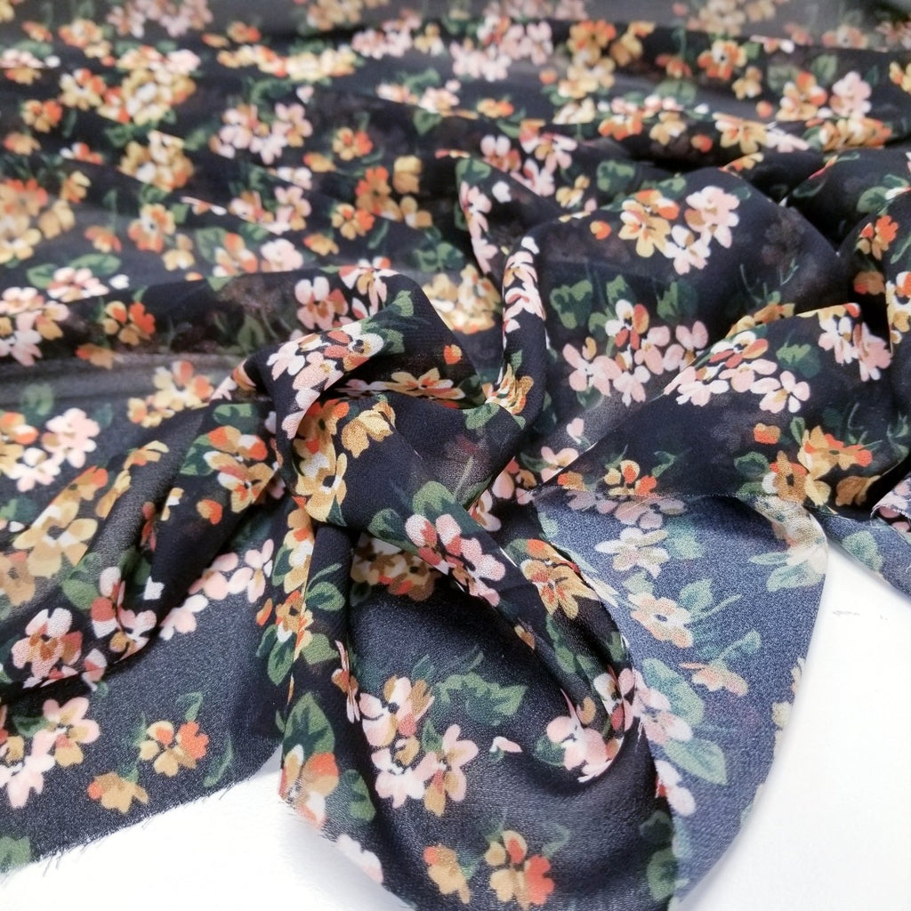 End of Bolt: 1-7/8th yards of Famous Maker Floral Poly Blousewear Woven- Remnant