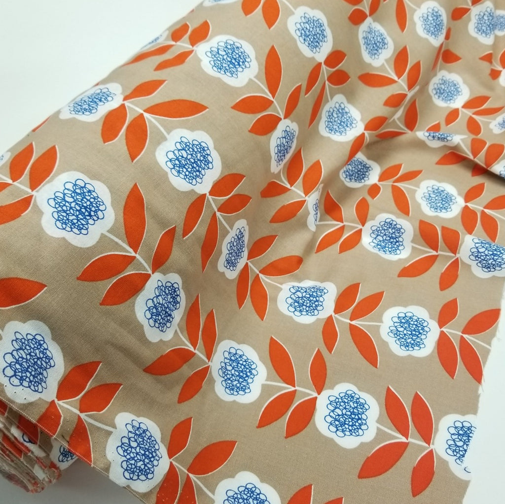Fashion Cotton Linen Retro Khaki & Orange Woven- Sold by the yard
