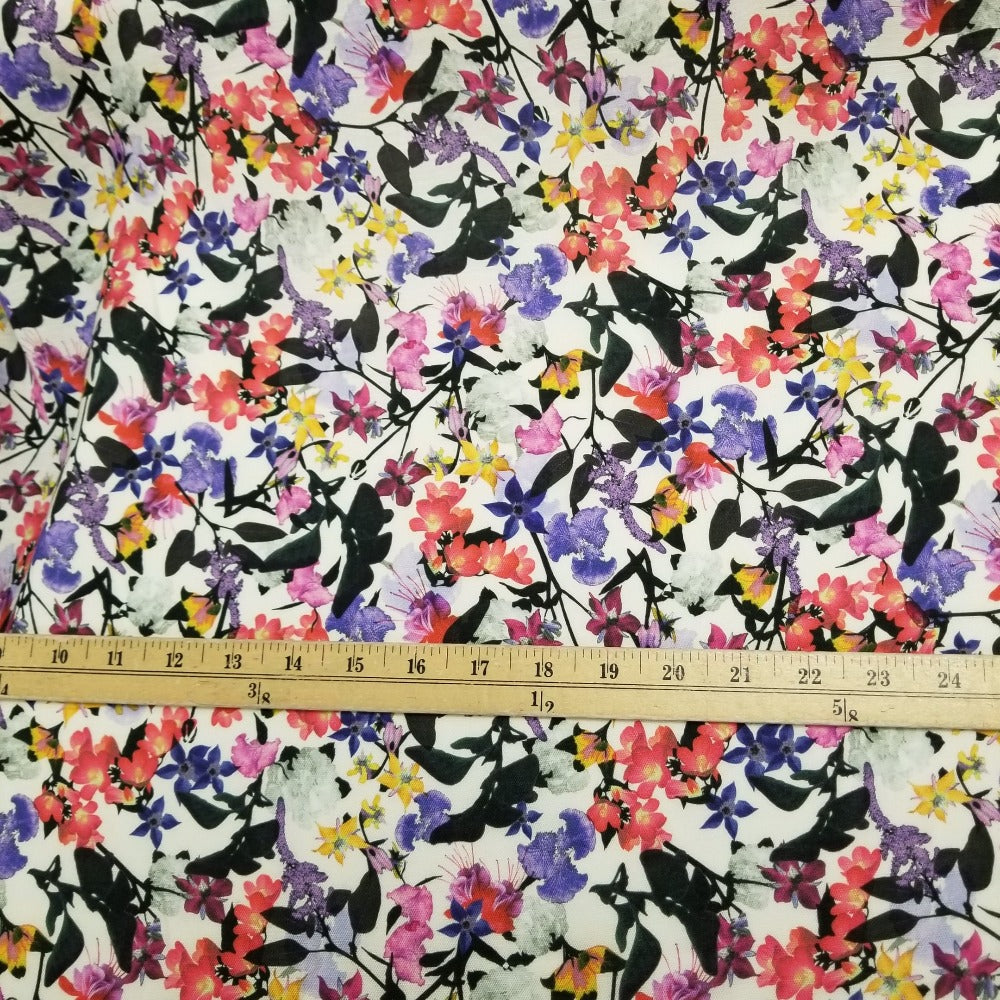 End of Bolt: 3-5/8th yards of Designer Deadstock Spring Gardens Rayon Linen Woven-Remnant