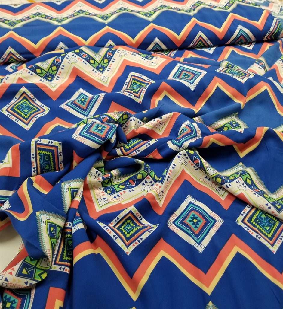 End of Bolt: 2.5 yards of Ziggy Royal Blue Rayon Challis Woven-remnant