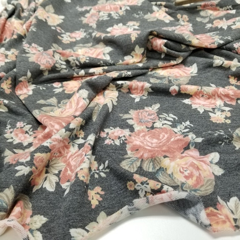 Designer Deadstock Floral Lightweight French Terry Knit-Sold by the yard
