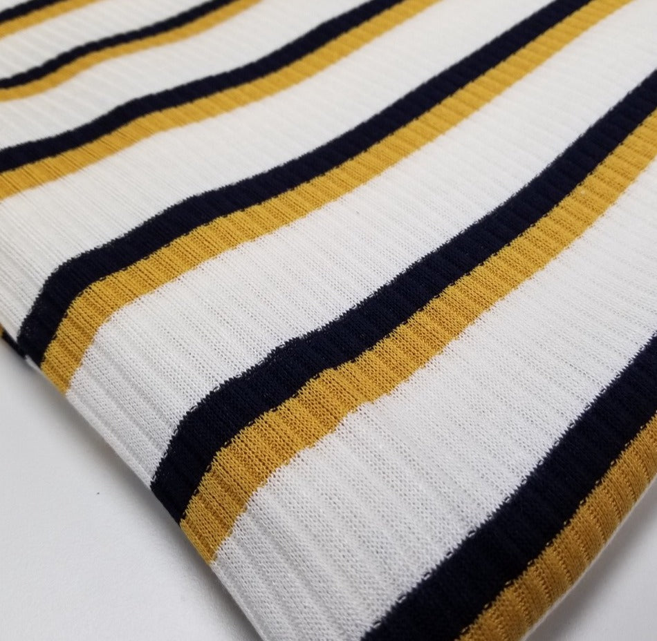 Designer Deadstock Claremont Mustard & Navy Rib Knit- Sold by the yard