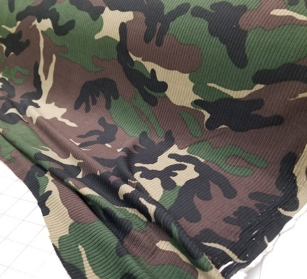 Designer Deadstock Camouflage Rib Knit- Sold by the yard