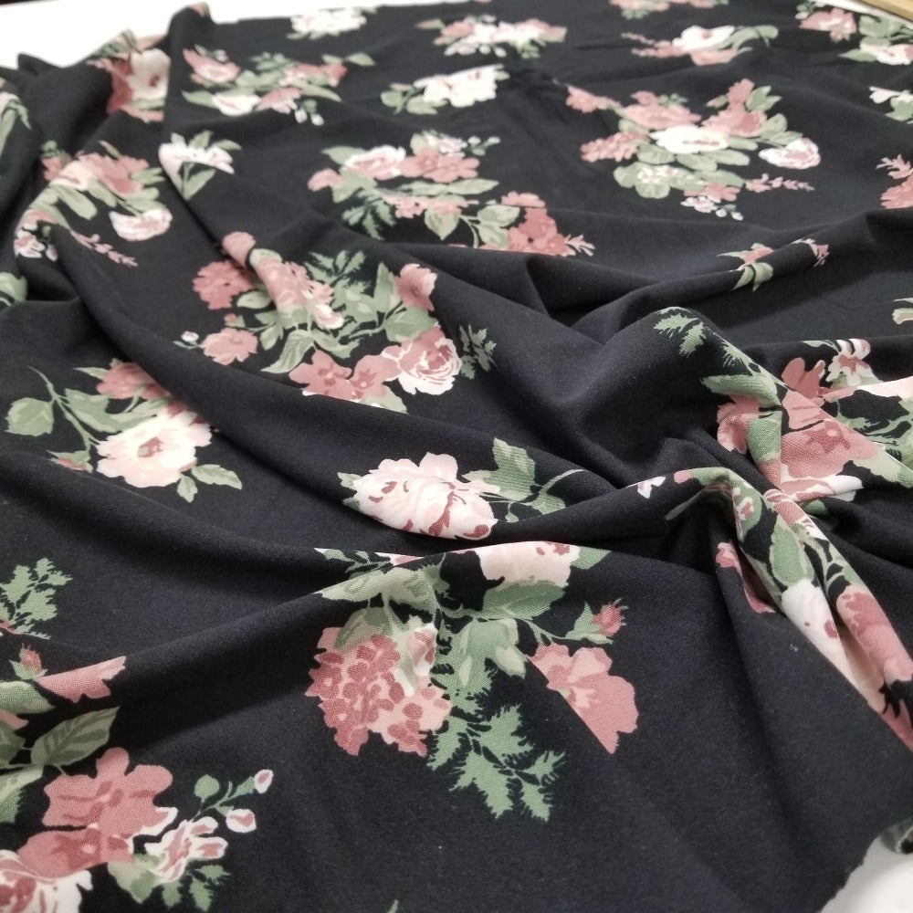 Double Brushed Poly Caroline Florals Black Knit- Sold by the yard