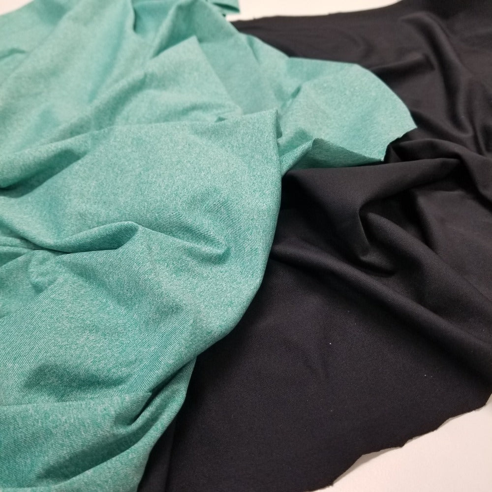 Designer Deadstock Matte Soft Activewear Black Onyx Knit- Made in the USA-Sold by the yard