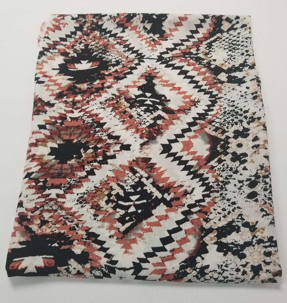 Designer Deadstock Caricia Abstract Bohemian Rayon Crepe Woven- Sold by the Yard