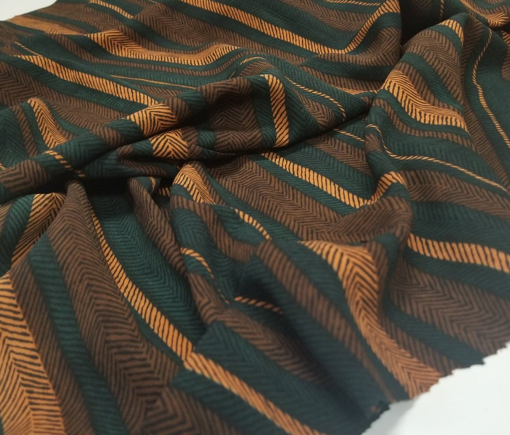 Designer Deadstock Levy Brown Zig Zag Stripe Rayon Woven- Sold by the yard